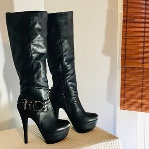 SHI by Journeys Black Faux Leather High Heel Boot